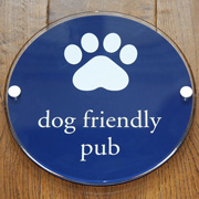 Dog friendly pub sign